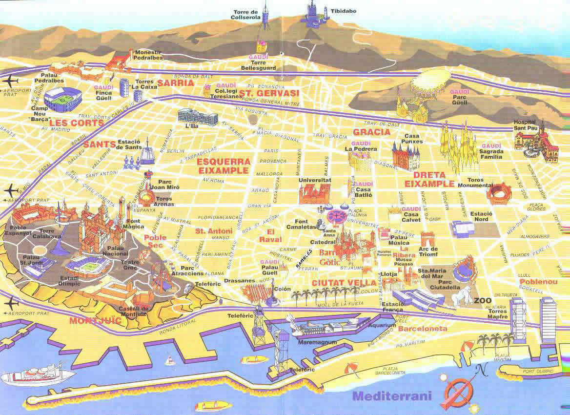Web Santi Salles dise o barcelona – Map Of Barcelona Tourist Attractions