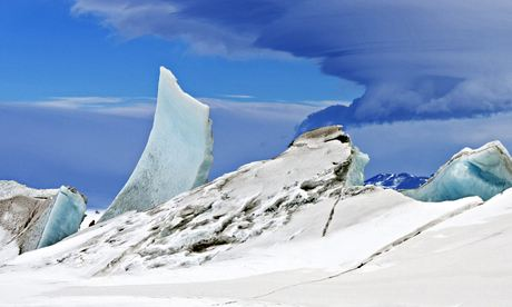 Multi-layered lenticular cloud hovering near Mount Discovery in Antarctica